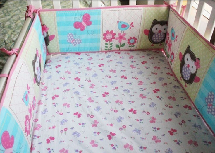 Ups Free 100 Cotton 7 Pieces Owls Baby Bedding Set Pink Embroidery Quilt Nursery Cot Crib In Sets From Mother Kids On Aliexpress
