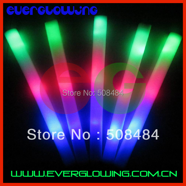new 100pcs/lot 4*48cm multi color 3 modes customized logo led foam stick led foam baton glow stick for wedding party