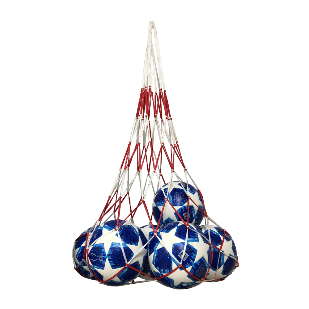 New Portable Outdoor Sports Soccer Net Bags 10 Balls Carry Net Bag Football Balls Pockets Red And White Patchwork Free Shipping