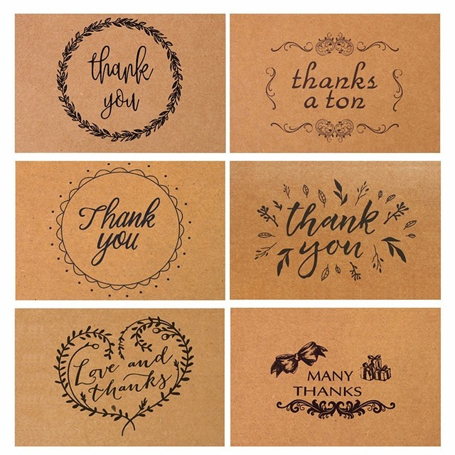 Pcs Vintage Kraft Thank You Cards Birthday Christmas Card Envelope