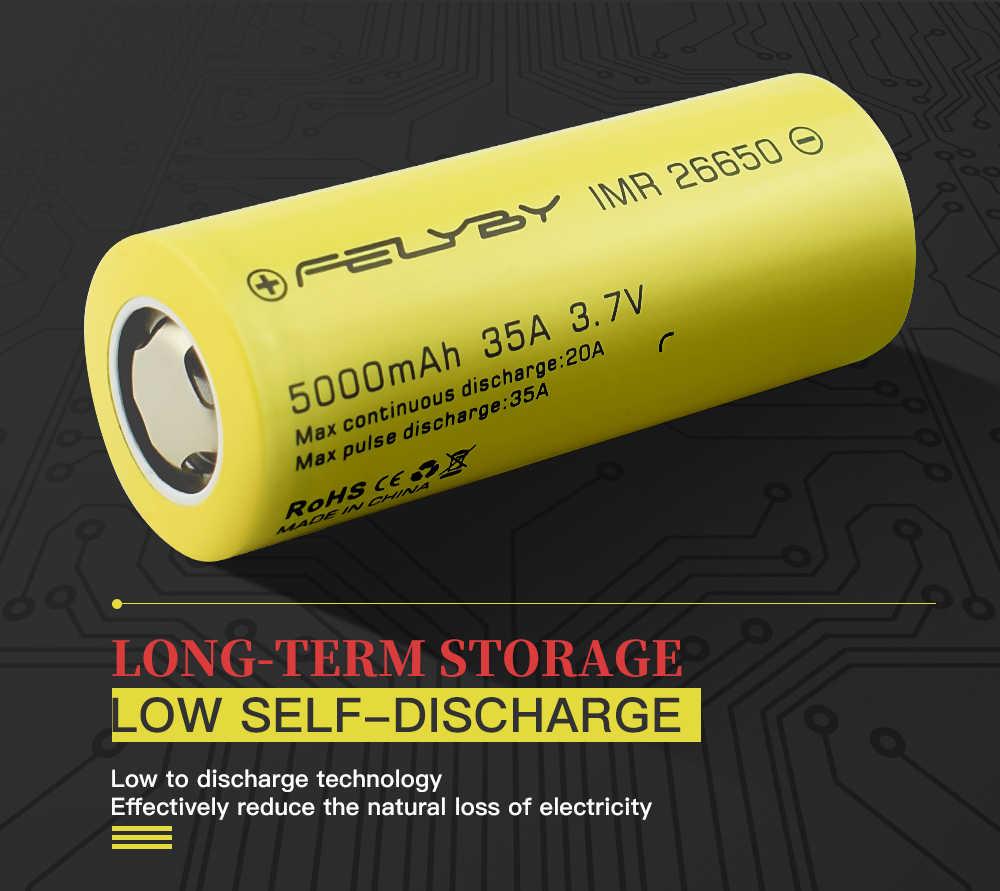 FELYBY 1-5 шт. Высокая емкость 5000mAh 3,7 V перезаряжаемая литиевая батарея 26650 для фонарей/солнечных батарей/UPS/электронных инструментов