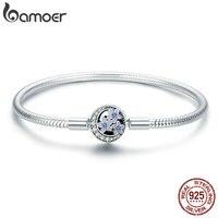 BAMOER 100 925 Sterling Silver Spring Flower And Luminous Moon Clasp Snake Chain Bracelet Sterling Silver