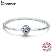 BAMOER 100 925 Sterling Silver Spring Flower And Luminous Moon Clasp Snake Chain Bracelet Sterling Silver
