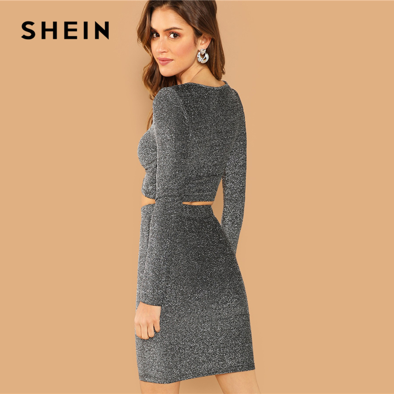 b673e9ec SHEIN Silver Plain Crop Form Fitting Glitter Top and Bodycon Skirt Set  Women Autumn Long Sleeve Round Neck Party Two Piece Sets-in Women's Sets  from Women's ...