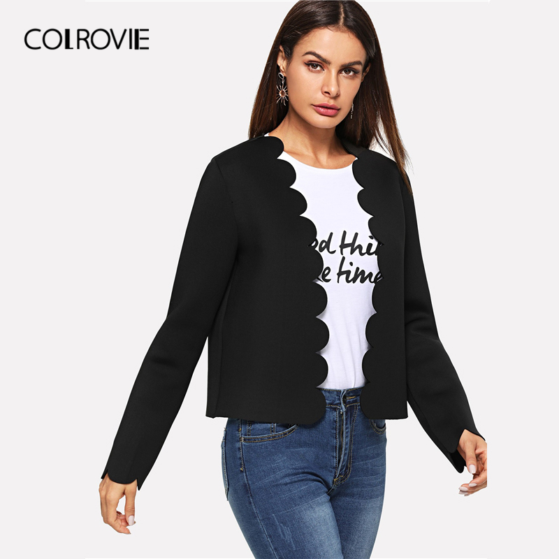 Image 4 - COLROVIE Black Solid Scallop Trim Bolero Casual Women Blazer Feminino 2019 Spring Office Ladies Coats Elegant Outerwear Coat-in Blazers from Women's Clothing