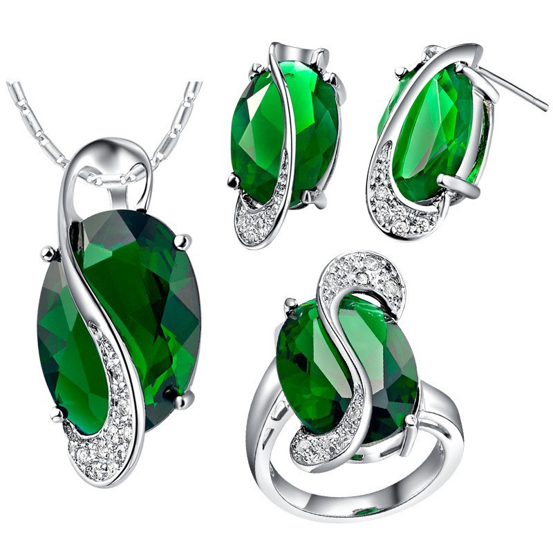 bridal Jewelry sets 925 sterling silver Zircon Necklace Sets,925 Silver Green Muiticolor Crystal necklace ring earring