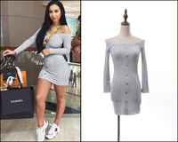 New 2019 European and American ins shoulder slim dress spring chic fungus side long sleeve leisure bags hip short