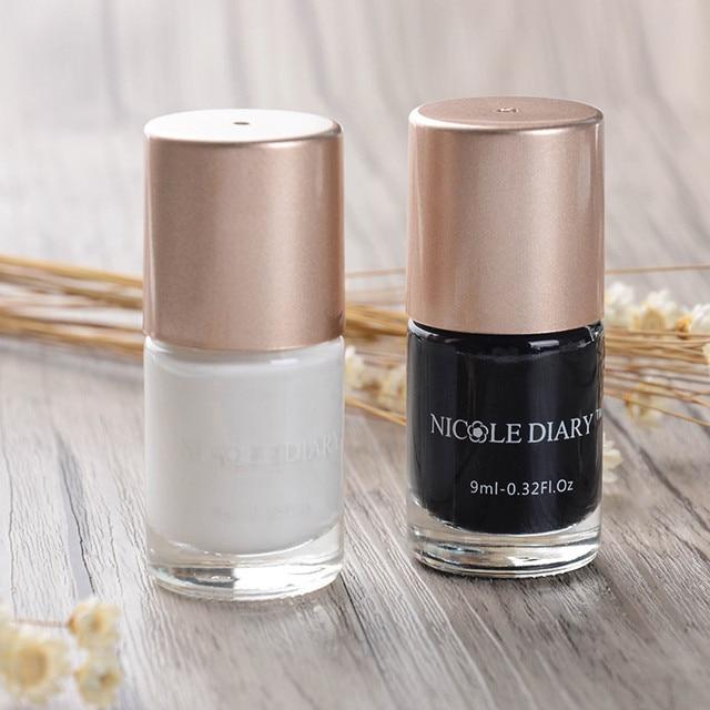 NICOLE DIARY 2 Bottles 9ml Nail Art Stamping Polish Black and White ...