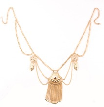 European fashion color summer beach body chains tassel Waist Chains Women charming sexy tribal Party jewelry Belly
