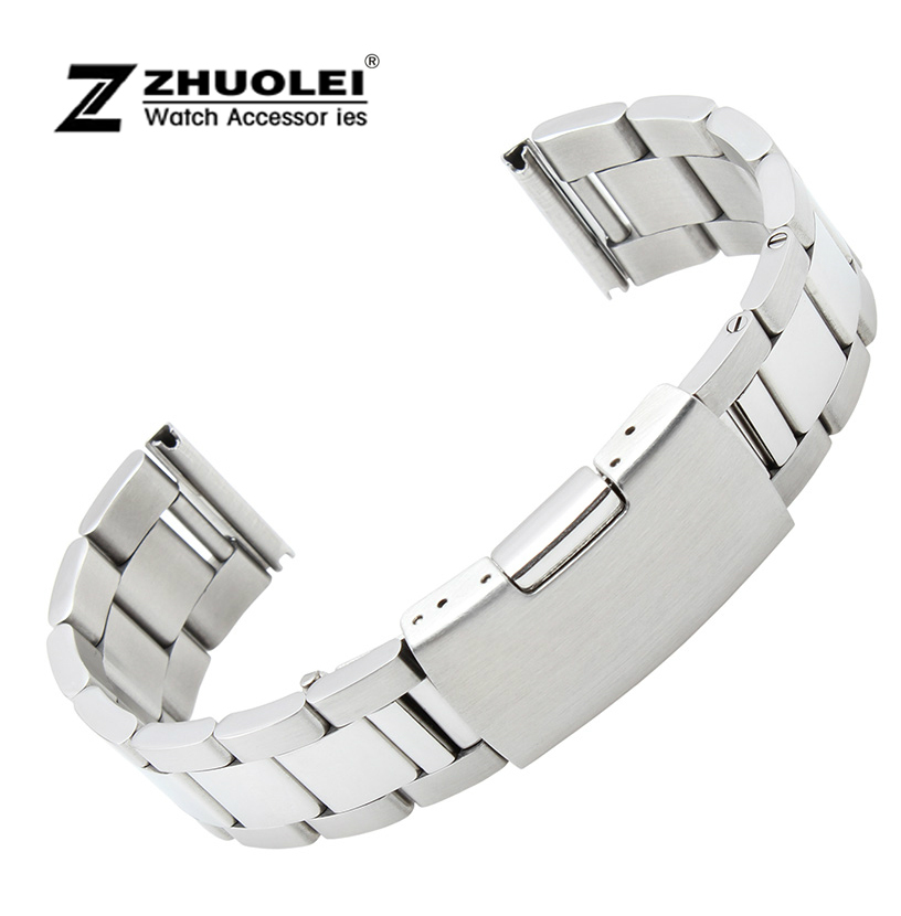 цены New Brused Polished Men Women Silver Stainless Steel Watch Band Strap Straight End Bracelet 18mm 19mm 20mm 21mm 22mm 23mm Buckle