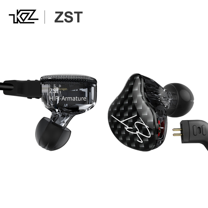 KZ ZST 1DD + 1BA Dynamique Armature pilote double HiFi Moniteurs Écouteurs avec Câble Détachable Isolation Acoustique Musique écouteurs sport