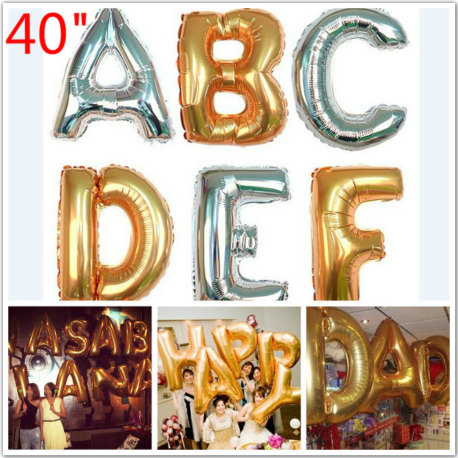 "Big Silver Letters Hot 40""inch Letter Balloons Jumbo Mylar Baloes Gold Silver Letters"