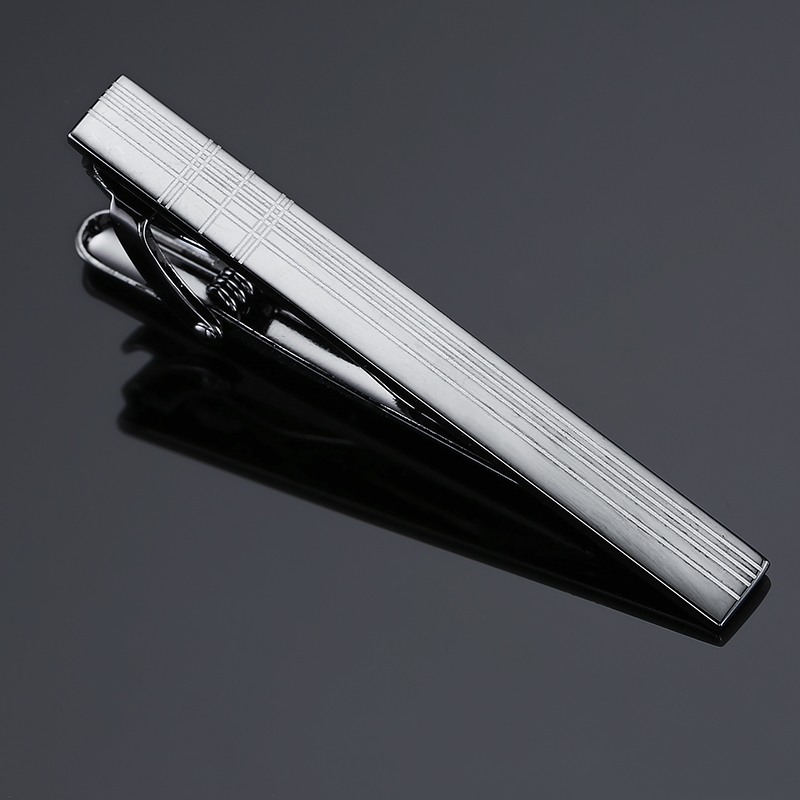 New Stylish Men Plating Metal Necktie Tie Bar Clasp Clip Cufflinks Set Gold Gift Stainless Steel Plain Skinny Tie Clip Pins Bars