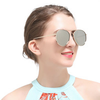 New 2017 Sunglasses Women Black Gold Silver Frame Polarized Mirror Yellow Lens Vintage Style Sun Glasses