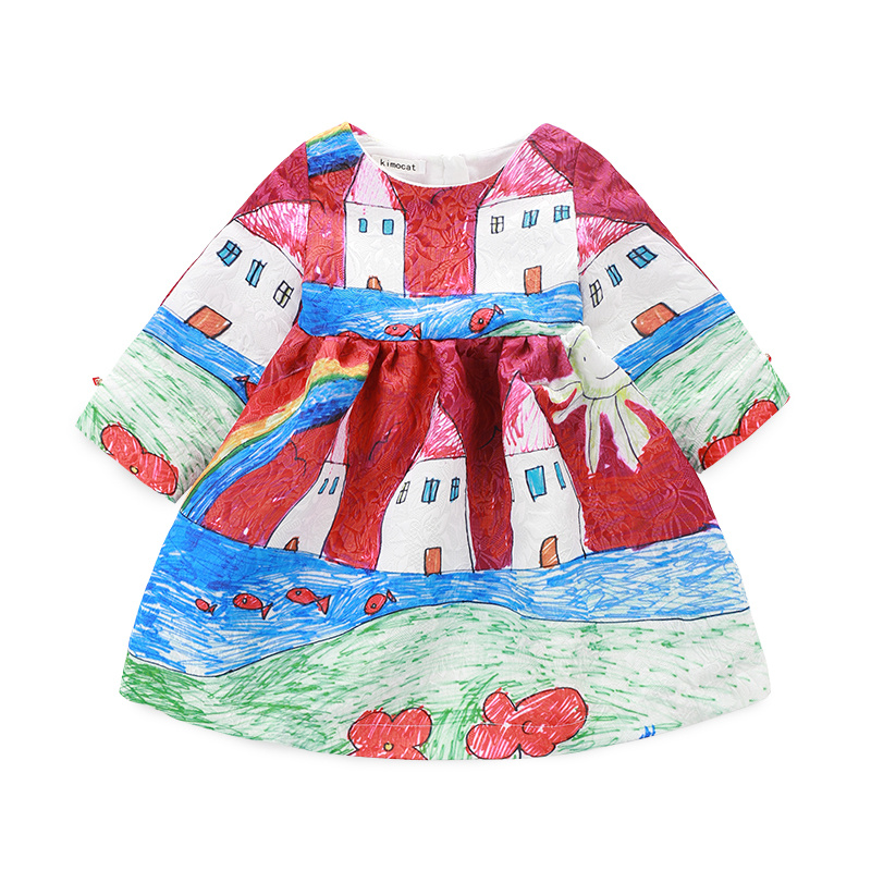 Long Sleeve Girl Dress 2015 Brand Girls Dresses Winter Princess Dress Christmas Graffiti Baby Girl Clothes Kids Dresses Children бутылочка поильник для кормления bebe confort maternity с силиконовой соской от 6 до 24 месяцев цвет белый 270 мл