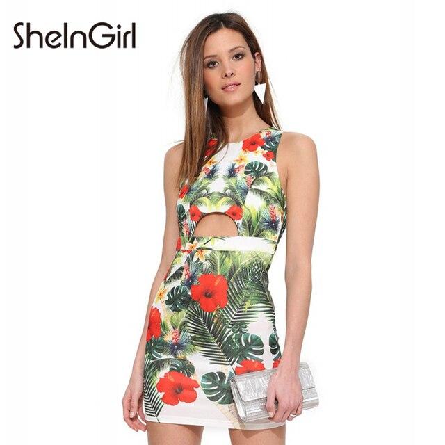 5f089c1df7 SheInGirl Summer Women Dress Tropical Print Cut Out Sexy Party Club bodycon  Mini Dress vestidos Sleeveless Slim Female Dress