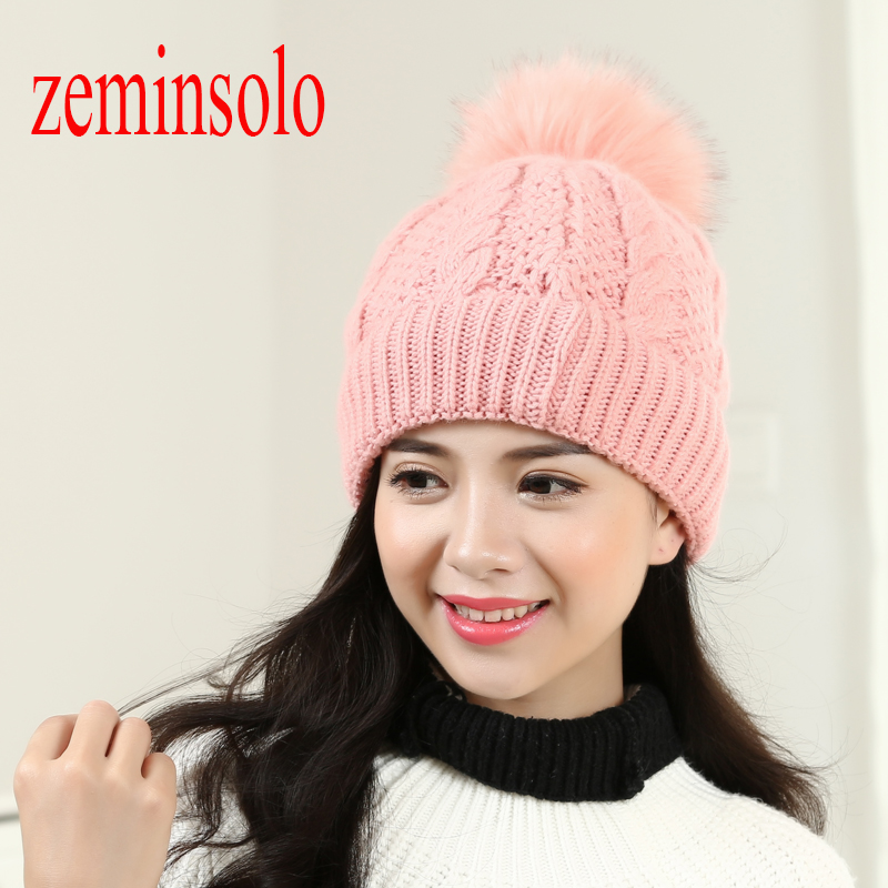 Mink And Fox Fur Ball Cap Pom Poms Winter Hat For Women Girls Wool Hats Knitted Cotton Beanies Skullies Caps Thicken Female Hats skullies beanies mink mink wool hat hat lady warm winter knight peaked cap cap peaked cap