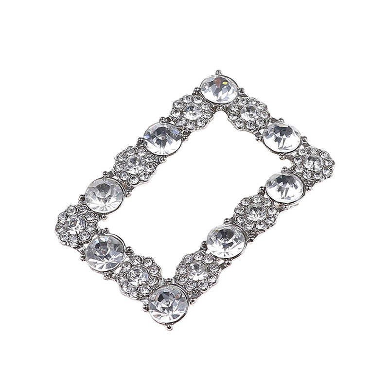 Elegant Rhinestone Square Shoes Buckle Bridal Wedding Charm Metal Crystal Shoe Clips Decor Accessories For Girls