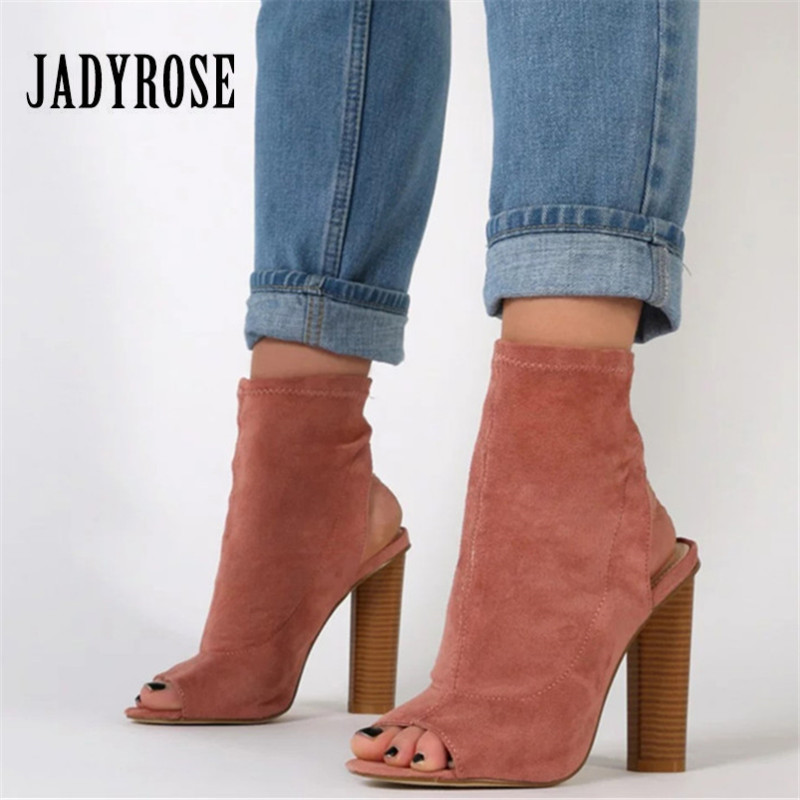 JADY ROSE Sexy Pink Women Stretch Summer Boots Peep Toe Slingback Slip On Botas High Heels Elastic Sock Ankle Booties hot stretch knitted peep toe ankle boots sexy women fashion booties cut outs slip on stiletto high heels botas mujer shoes woman