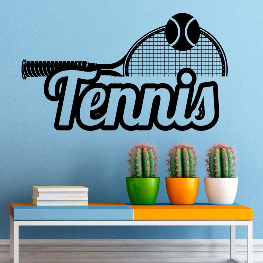 Sports wall decals tennis logo vinyl wall sticker tennis club decoration home interior wall art tennis lover wall mural ay1142