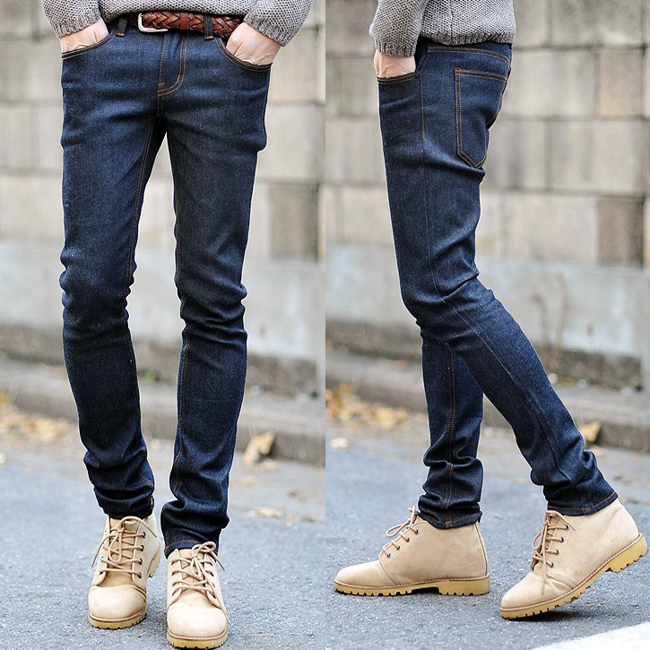 2015 Autumn And Winter Fashion Male Slim Jeans Blue Jeans Black Denim Trousers