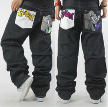 Free shipping  Hip hop fashion men's jeans, loose pants embroidered clown skateboard 30-42