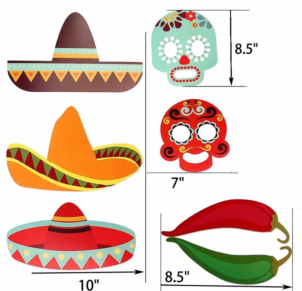 29pcslot Mexican Themed Photo Booth Props Kit Decorations Summer