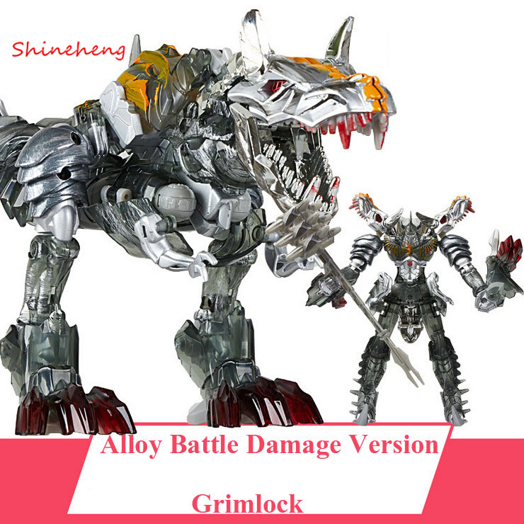 SHINEHENG Deformation on Movie 4 Tyrannosaurus Rex Dinobots Grimlock Robot Dinosaur Model ABS&Alloy Action Figure Toy Boy Gift dinosaur transformation plastic robot car action figure fighting vehicle with sound and led light toy model gifts for boy