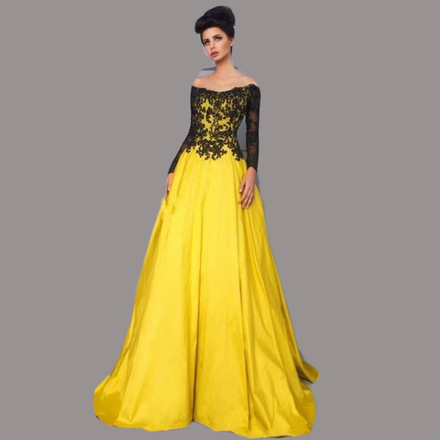 d5683a25694a Vintage Style Black and Yellow Evening Dresses Long Sleeve Off Shoulder Lace  Satin Party Gowns vestidos de formatura Custom E49