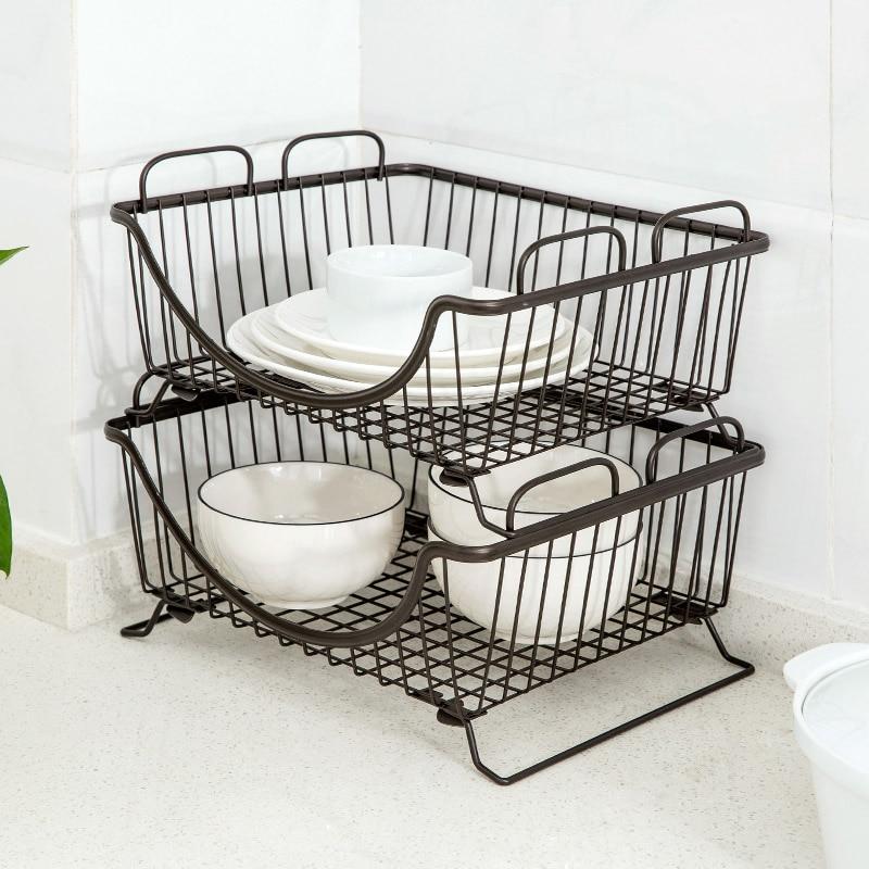 1PCS Metal Storage Basket Kitchen Supplies Floor Storage Basket Placed Dish  Vegetable Drain Bowl Shelf Organization TN In Storage Baskets From Home U0026  Garden ...