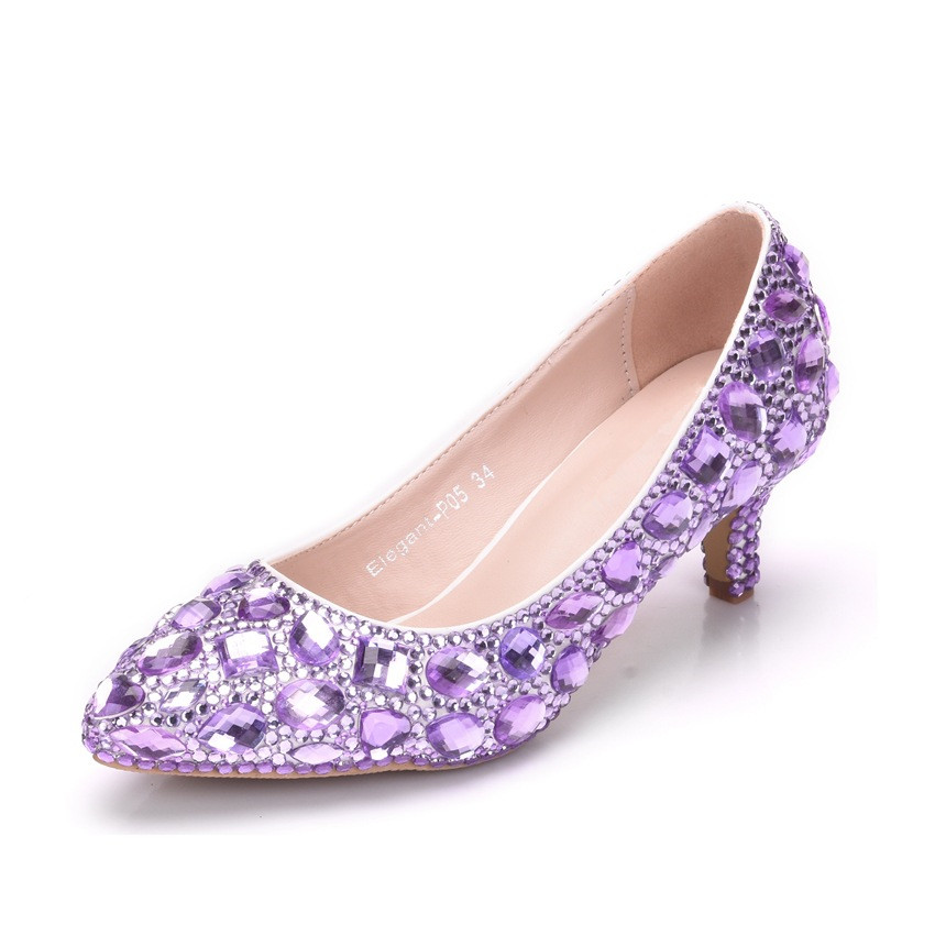 2019 New Arrival White Blue Gold Ladies Sexy Med High Heels Pumps Rhinestones Ladies Pumps Shoes For Party Wedding XY A0299 in Women 39 s Pumps from Shoes