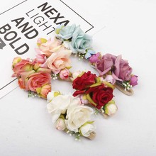 AHB Floral Headband for Girls Elastic Nylon Headwraps Artificial Flower Newborn Head Band Photography Props Headwear Kids Soft