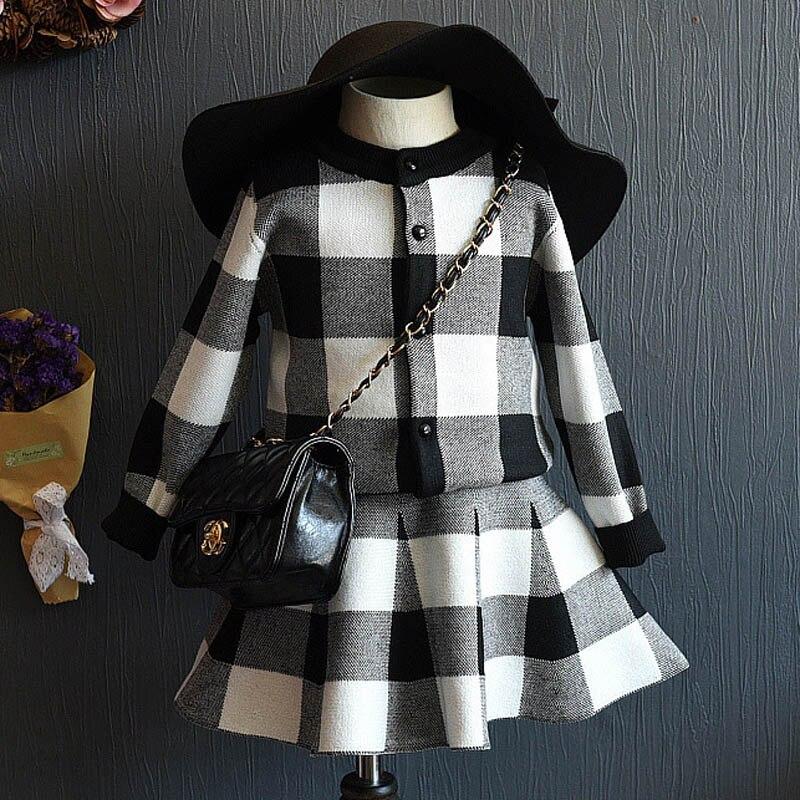 Children's clothing sets Summer fashion girls clothing Sets black white plaid coat+tutu skirts sets toddler girls clothes girls summer sets 100 page 5