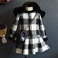 Conjuntos de roupas infantis de Verão Conjuntos de roupas de moda meninas preto branco xadrez casaco + tutu saias define as meninas da criança roupas