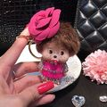 Flower Camellie Monchichi Key Chain Sleutelhanger Strass Keychain Keyring Women Car Bag Purse Charm Porte Clef Fourrure M68