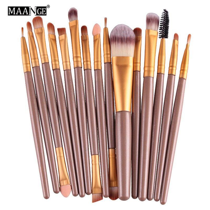 MAANGE 15pcs / 6st Makeup Brushes Syntetisk Make Up Brush Set Tools Kit Professionell Kosmetika Hög Kvalitet
