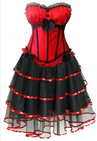 <font><b>Sexy</b></font> <font><b>Lingerie</b></font> <font><b>Costumes</b></font> Red Padded Cup <font><b>Corset</b></font> Dress Party With Skirt 8899+7007 S-2XL image