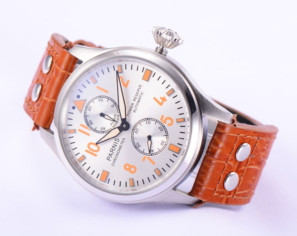 Hot Sale 47mm Parnis Big Pilot Silver Dial with Orange Number Power Reserve Automatic men Watch