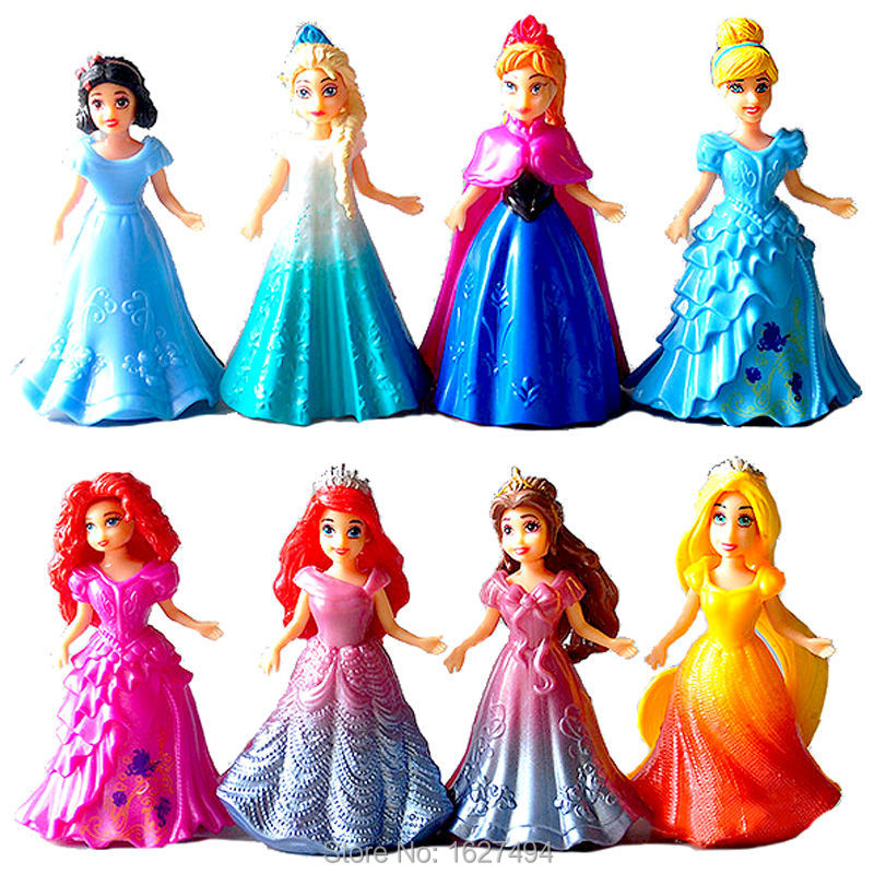 Magic Clip Princess Dress Magiclip Dolls Action Figures Rapunzel Merida Elsa Anna Statue Belle Anime Figure Figurines Kids Toys