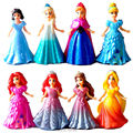 Magic Clip Princess Dress Magiclip Dolls Action Figures Rapunzel Merida Elsa Anna Statue Belle Anime Figure Figurines Kids Toys