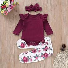 Cute Fashion Clothes Set  Toddler Baby Girls Long Sleeves Romper Tops+Floral Pants+Headbands 3PCS Outfits Set cute toddler girls kids off shoulder blouse tops denim pants jeans headbands 3pcs outfits set clothes