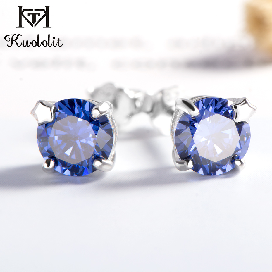 Kuololit Tanzanite Gemstone Stud Earrings for Women Solid 925 Sterling Silver Wedding Handmade Jewelry Fashion Gift For Girl NewKuololit Tanzanite Gemstone Stud Earrings for Women Solid 925 Sterling Silver Wedding Handmade Jewelry Fashion Gift For Girl New
