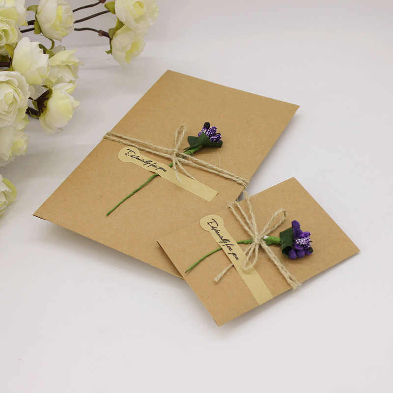 30pcs Lot Diy Handmade Present Card With Flower Wedding Inviting Card Simple Invitation Card Party Decorate Wish Greeting Card