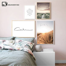 Grass Field Sunset Canvas Nordic Poster Nature Wall Art Print Landscape Painting Decorative Picture Scandinavian Home Decoration(China)