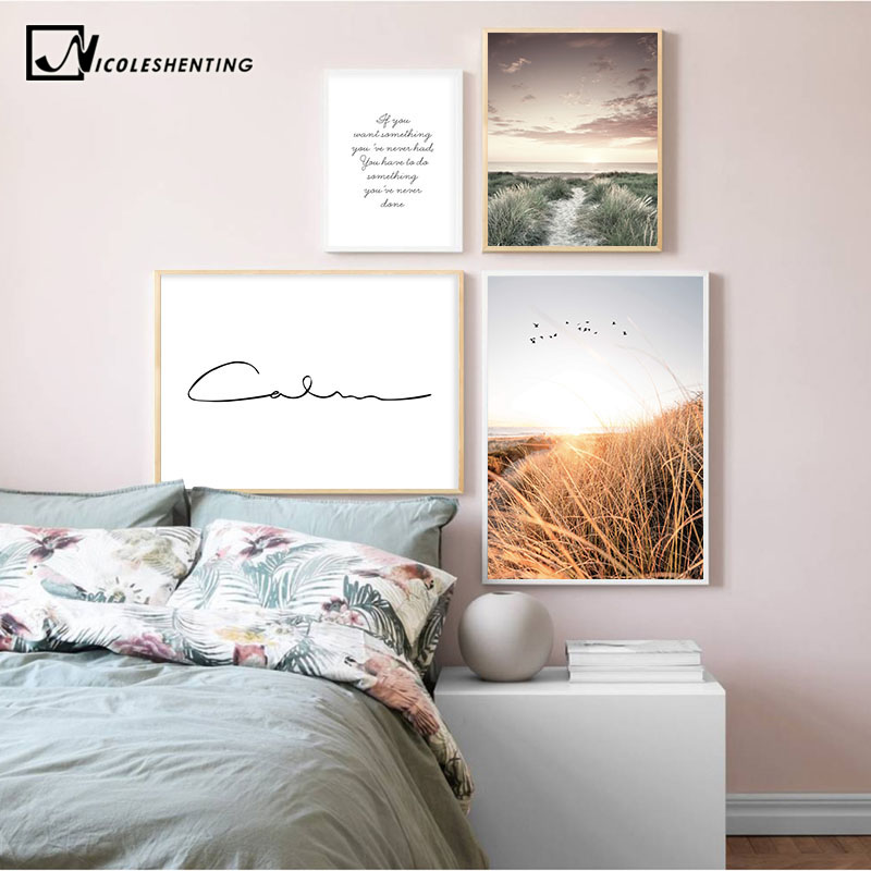 Latest Product  Grass Field Sunset Canvas Nordic Poster Nature Wall Art Print Landscape Painting Decorative Picture