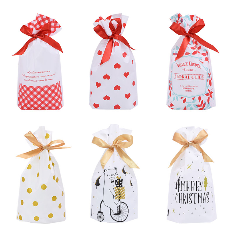 5/10pcs Candy Cookies Gift Bags With Ribbon Snack Biscuit Baking Package Wedding Birthday Party Decoration Christmas Gift Bags 1