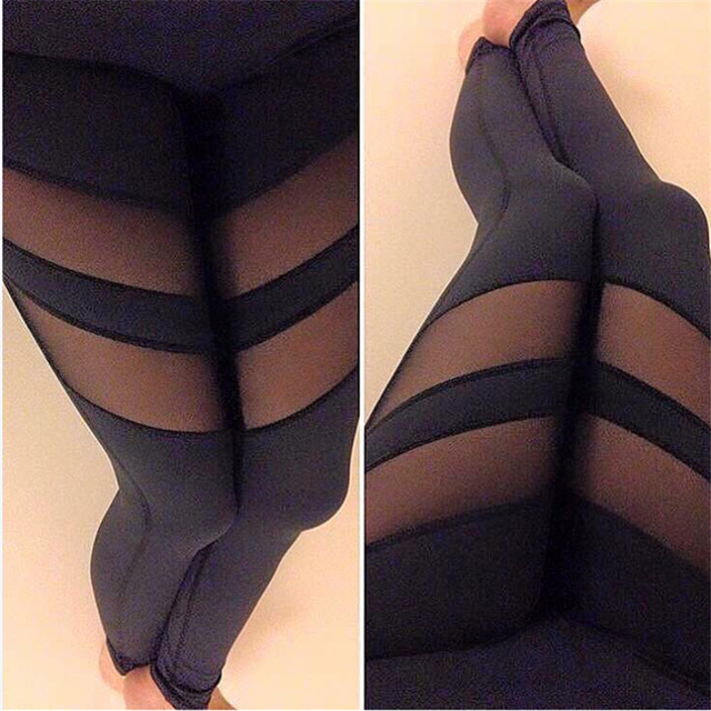 S-XL Women's Leggings Fashion Big Size Mesh Patchwork Leggings Female Elastic Fashion Workout Sportwear Leggings Women Summer