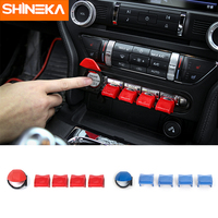 SHINEKA Console Dashboard Button Trims Car Interior Accessories Cover for Ford Mustang 2015 16 17 Free Shipping