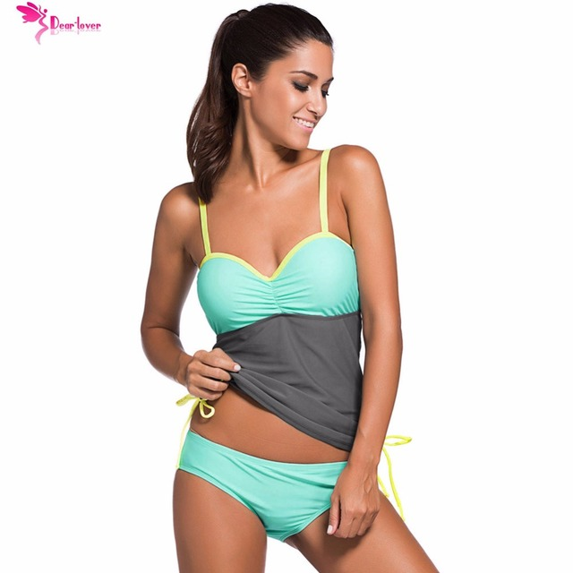 80e7cd3fb71af Dear Lover 2017 Sexy Women Summer Swimsuit Color Block Two Pieces Sets 2  pcs Bikini Bottom with Tankini Top Beach Swimwear 41964