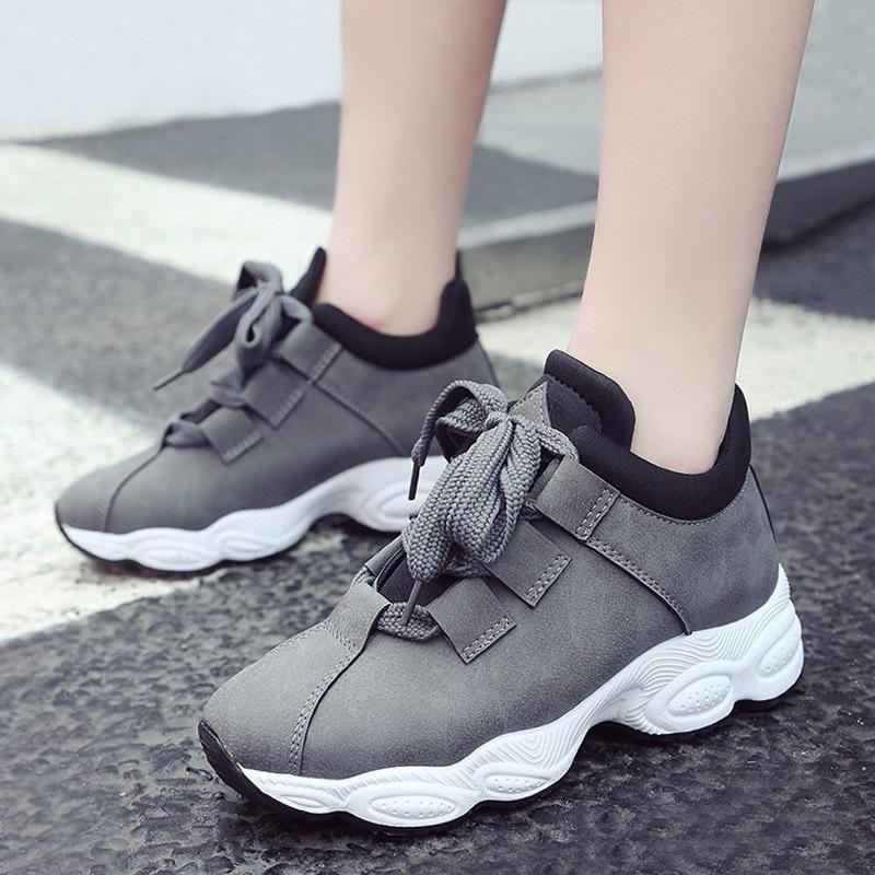 c77264b5 Купить ADBOOV осенне зимние кроссовки на платформе, Женская замшевая  удобная повседневная обувь из свиной кожи, Женская корейская мода, zapatos  De Mujer, ...